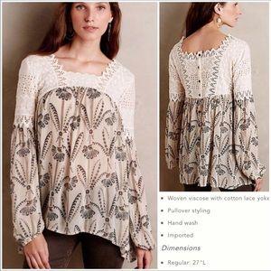 Anthropologie-Floreat-Floral Crochet Boho Tunic